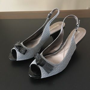 Naturalizer Black Tweed Sling Back Shoes